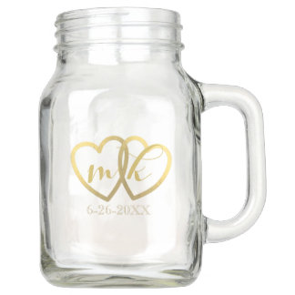 Wedding Faux Gold Foil Hearts Mason Jar