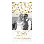 Wedding Faux Gold Glitter Dots Thank You Photo Greeting Card