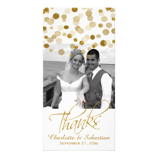 Wedding Faux Gold Glitter Dots Thank You Photo Card