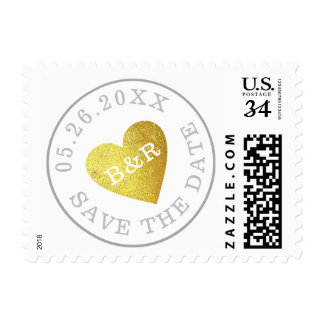 wedding faux gold heart love-stamp, nice save date postage
