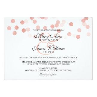 Wedding Faux Rose Gold Foil Glitter Lights 5x7 Paper Invitation Card
