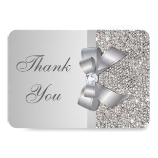 Wedding Faux Silver Sequins Bow Thank You Card