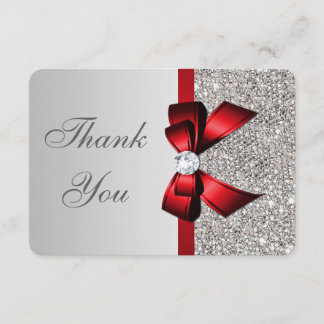 Wedding Faux Silver Sequins Red Bow Thank You
