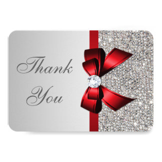 Wedding Faux Silver Sequins Red Bow Thank You Card