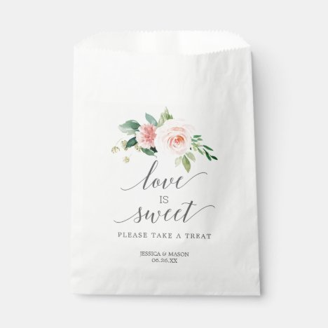 Wedding Favor Bag Love is Sweet Blushing Blooms