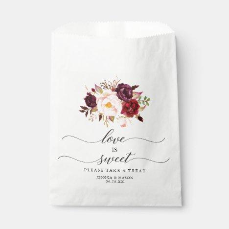 Wedding Favor Bag Love is Sweet Burgundy Marsala