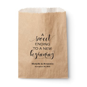 VividBlissDesign Wedding Favor Bag - Sweet Ending to New Beginning