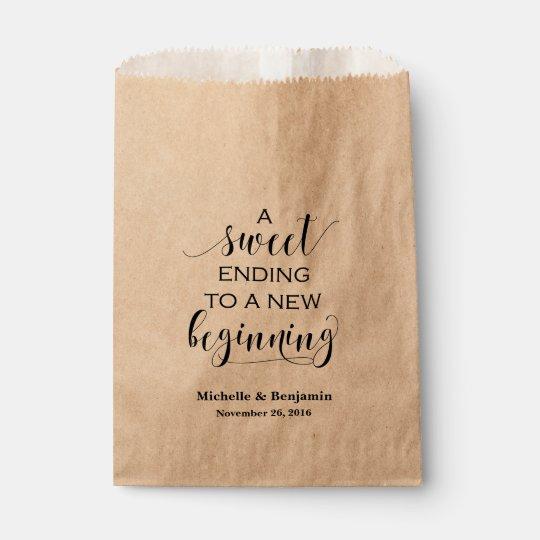 paper wedding favor bags. wedding favor bag - sweet ending to new beginning paper bags