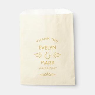 Wedding Favor Bags | Gold Art Deco