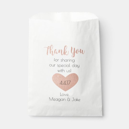 Wedding Favor Bags In Rose Gold Thank You Bag Zazzle