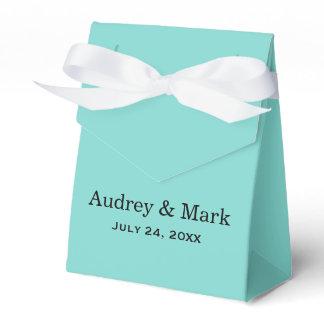 Wedding Favor Box | Aqua Blue with White Ribbon