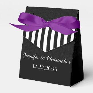 Wedding Favor Box, Black & White Stripes