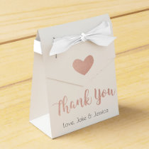 Wedding Favor Box with Rose Gold Thank You