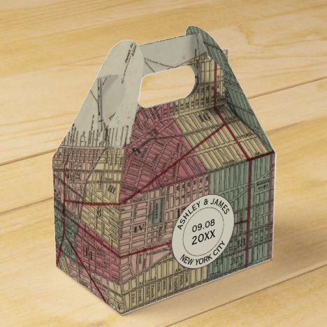 Wedding Favor Box with Vintage New York City Map