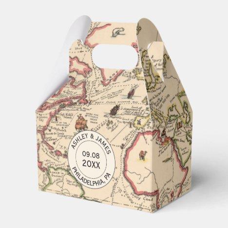 Wedding Favor Box with Vintage World Adventure Map