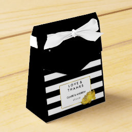 Wedding Favor Boxes | Black Stripe & Gold Peony