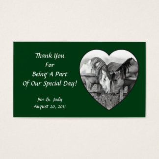 WEDDING FAVOR CARDS: HORSES NUZZLING IN HEART BUSINESS CARD