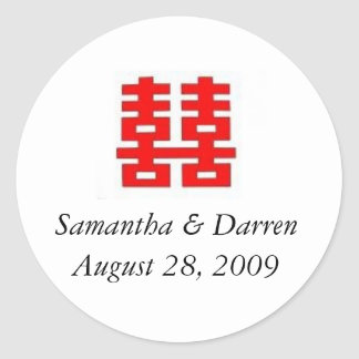Wedding Favor Double Happiness Sticker