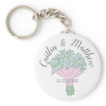 Wedding Favor Forget-Me-Not Bouquet Doodle Keychain