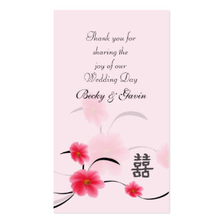 Wedding Favor Gift Pink Blossom Double Happiness Business Cards