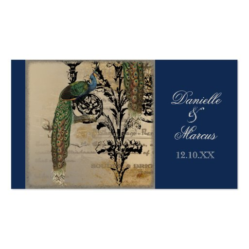 Wedding Favor Gift Tag Cards - Vintage Peacock 6 Business Card Template