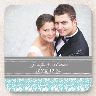 Wedding Favor Gray Blue Damask Photo Coasters