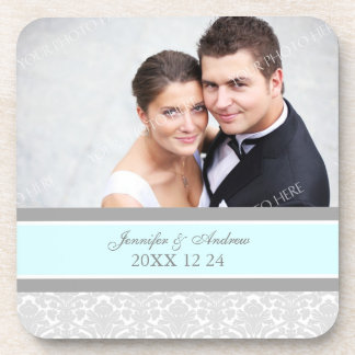 Wedding Favor Gray Blue Damask Photo Coasters