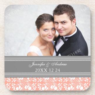 Wedding Favor Gray Coral Damask Photo Coasters