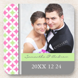 Wedding Favor Gray Pink Lime Photo Coasters