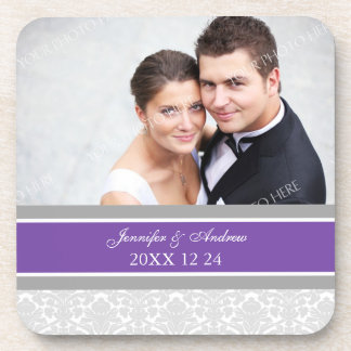 Wedding Favor Gray Plum Damask Photo Coasters