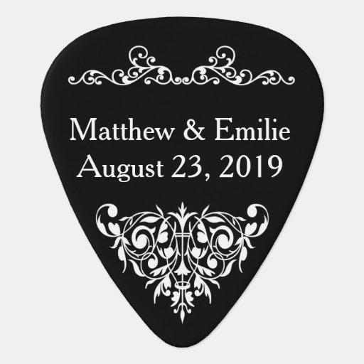 wedding favor guitar pick ornate black zazzle