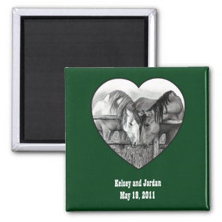 WEDDING FAVOR: HORSES: HITCHED: PENCIL, HEART 2 INCH SQUARE MAGNET