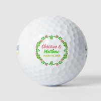 Wedding Favor Irish Clover Wreath Calligraphy Golf Balls