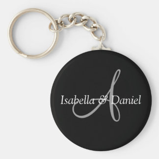 Wedding Favor Keepsake Bride Groom Names Monogram Basic Round Button Keychain