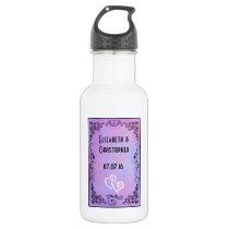 Wedding Favor Keepsake Purple Fancy Frame Stainless Steel Water Bottle