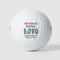 Wedding Favor Love Forever Retro Flowers Golf Balls