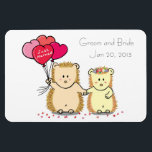 "Wedding Favor Magnet - Cute hedgehog couple<br><div class=""desc"">White background magnet with cartoon of cute hedgehog couple holding hands and holding heart shaped balloons with the text ""just married"". Customisable template to change to the names of the Groom and Bride and the wedding date. Suitable as a wedding party favor.</div>"
