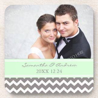 Wedding Favor Mint Grey Chevron Photo Coasters