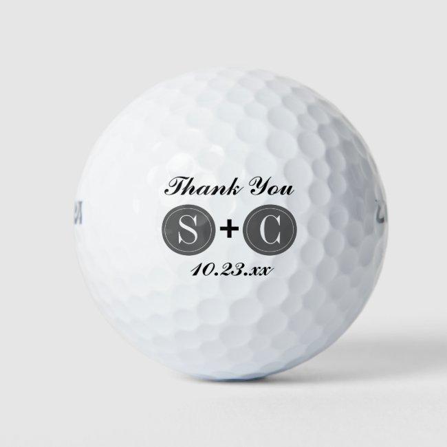 Wedding Favor Monogram Initials Thank You Golf Balls