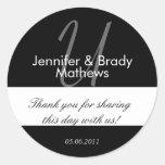 Wedding Favor Monogram U Thank You Sticker
