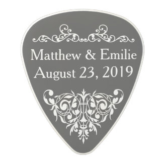 Wedding Favor - Ornate Black Polycarbonate Guitar Pick