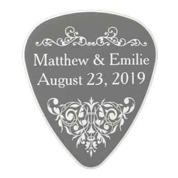 Wedding Favor - Ornate Black Polycarbonate Guitar Pick by bridalwedding at Zazzle