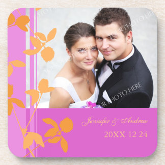 Wedding Favor Pink Damask Photo Coasters