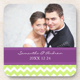 Wedding Favor Plum Lime Chevron Photo Coasters
