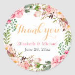 "Wedding Favor Romantic Floral Decor Thank You Classic Round Sticker<br><div class=""desc"">================= ABOUT THIS DESIGN ================= Modern Pink Floral Wrapping Invitation Suite. (1) All text style, colors, sizes can be modified to fit your needs. (2) If you need any customization or matching items, please feel free to contact me. (In case you didn&#39;t get my response, please check the email SPAM...</div>"