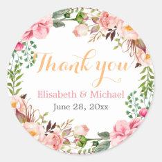 Wedding Favor Romantic Floral Decor Thank You Classic Round Sticker at Zazzle