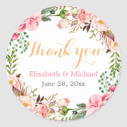 Wedding Favor Romantic Floral Decor Thank You Classic Round Sticker