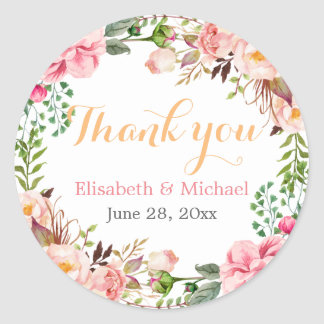 Wedding Favor Romantic Floral Decor Thank You Classic Round Sticker