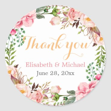 CardHunter Wedding Favor Romantic Floral Decor Thank You Classic Round Sticker