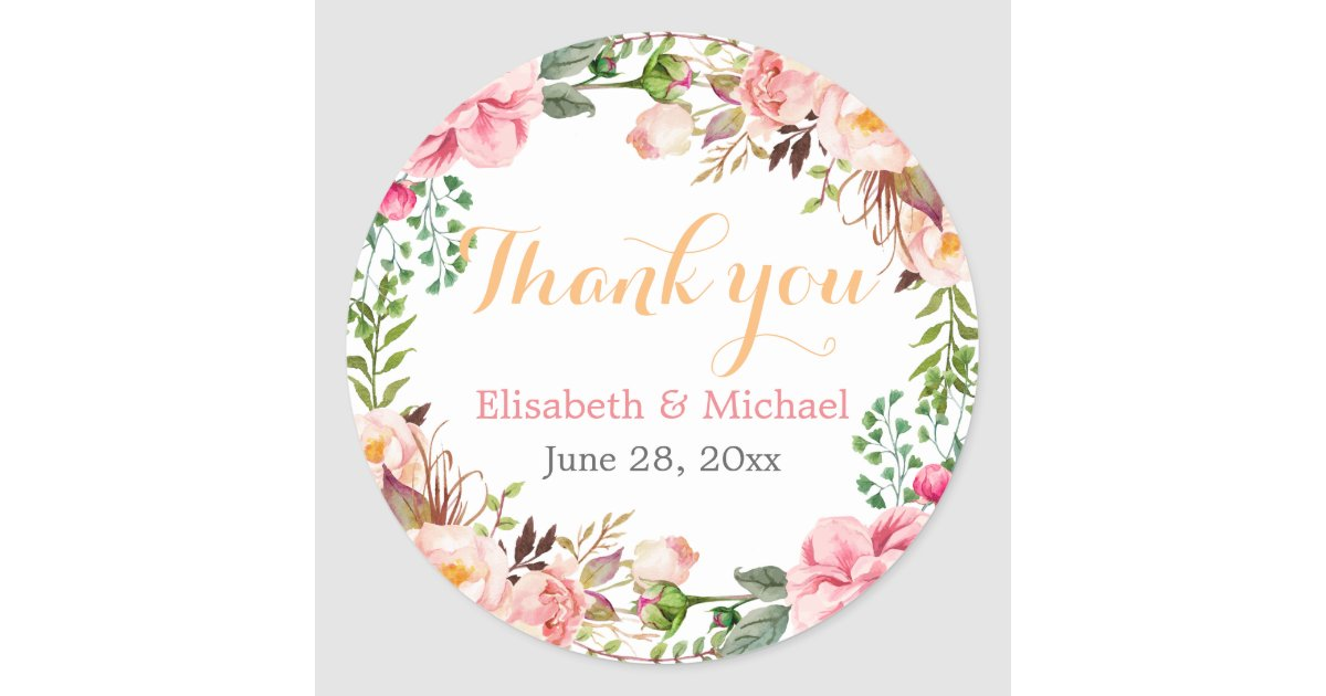 Wedding Favor Fl Decor Thank You Clic Round Sticker